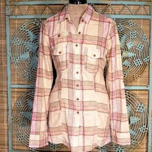 FREE PEOPLE Linen Oversized Plaid Button Shirt